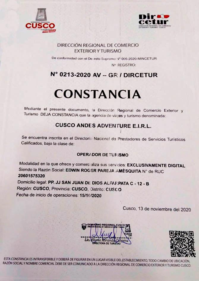 Certificada Cusco Andes Adventure